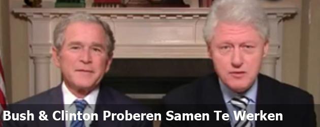 Bush & Clinton Proberen Samen Te Werken