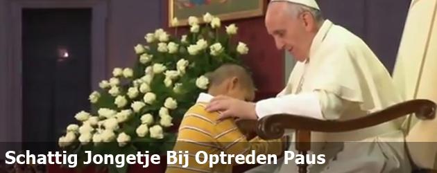 Schattig Jongetje Bij Optreden Paus