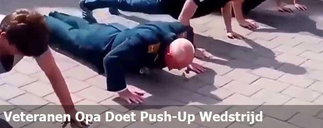 Veteranen Opa Doet Push-Up Wedstrijd