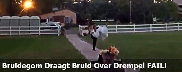 Bruidegom Draagt Bruid Over Drempel FAIL!