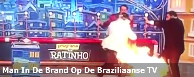 Man In De Brand Op De Braziliaanse TV