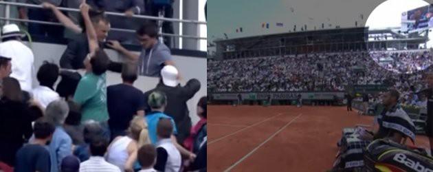 PrutsFM.nl Tijdens de kwartfinalepartij van Roland Garros, tussen Wilfried Tsonga tegen Kei Nishikori, viel een stuk van het scorebord naar beneden. Boven op het publiek, waarschijnlijk waaide het iets te hard. Er vielen gelukkig geen zwaargewonden, wel werd de tenniswedstrijd een half uurtje stil gelegd.