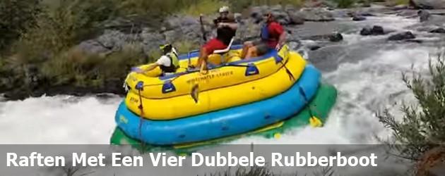Raften Met Een Vier Dubbele Rubberboot