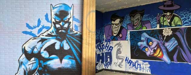 Vette Batman streetart in een verlaten ziekenhuis in België
