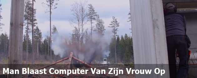 Man Blaast Computer Van Zijn Vrouw Op