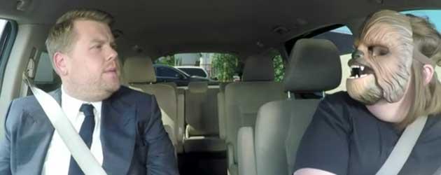 Chewbacca Mom Brengt James Corden Naar het Werk