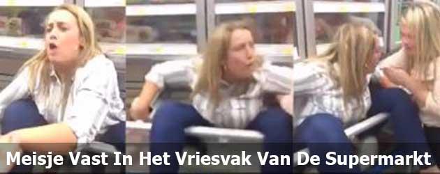 Meisje Zit Vast In Het Vriesvak Van De Supermarkt