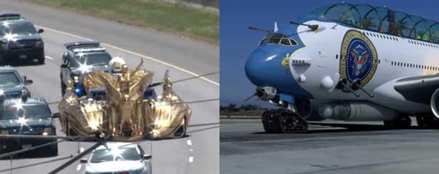 Nieuwe presidentiële gouden auto en vliegtuig voor Trump