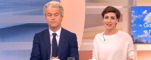 Geert Wilders kondigt op geheel eigen wijze het NOS Journaal aan