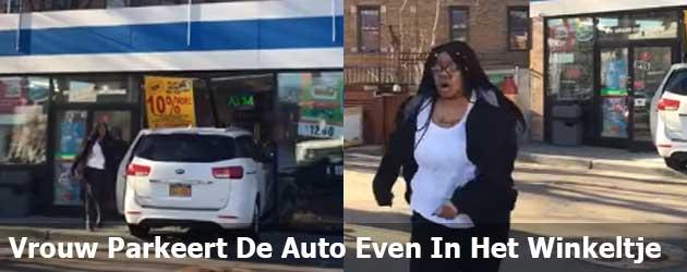 Vrouw Parkeert De Auto Even In Het Winkeltje