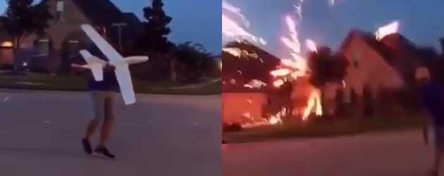 Gast gooit per ongeluk een vuurwerk vliegtuig tegen het huis van de buren